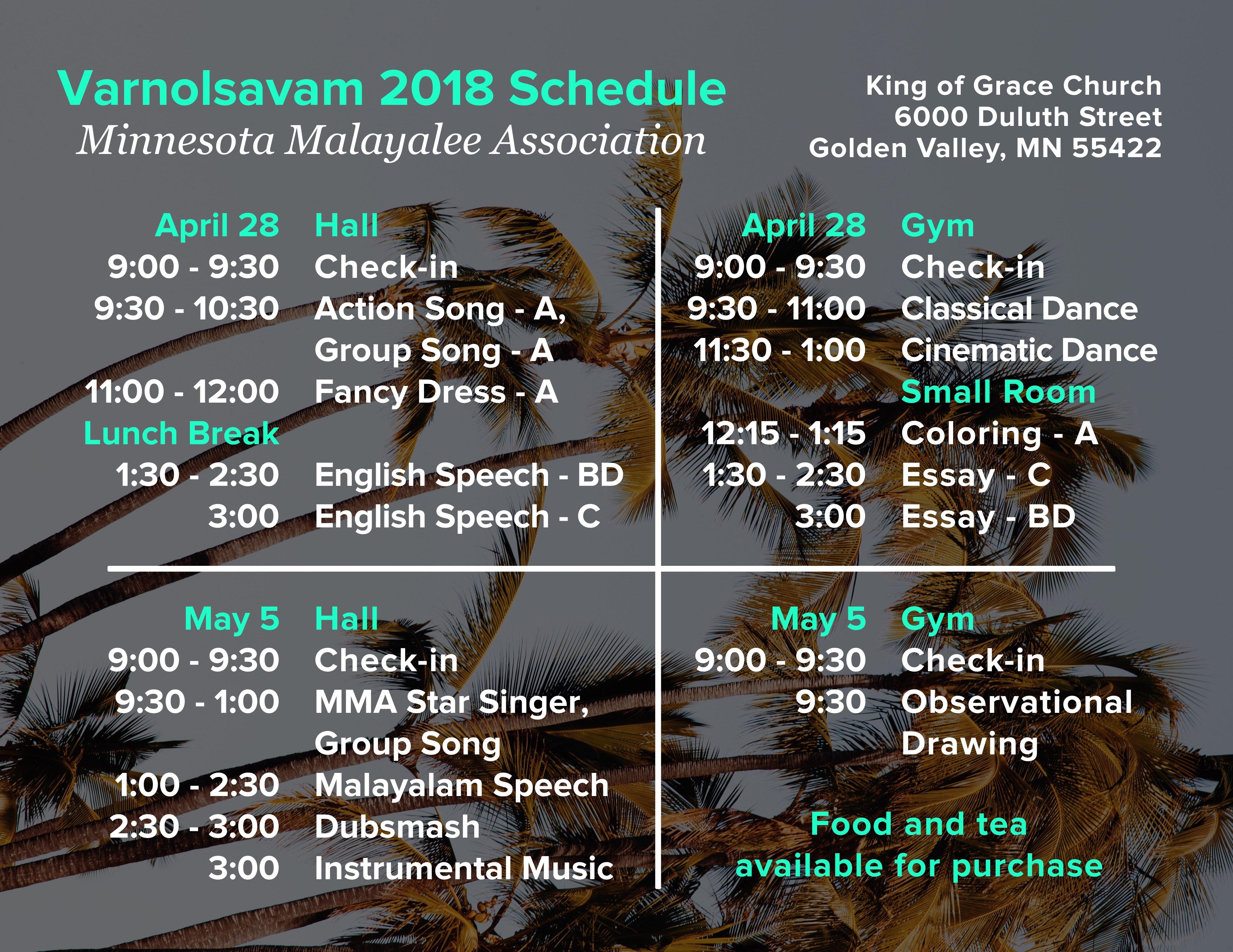 Varnolsavam 2018 Schedule 2